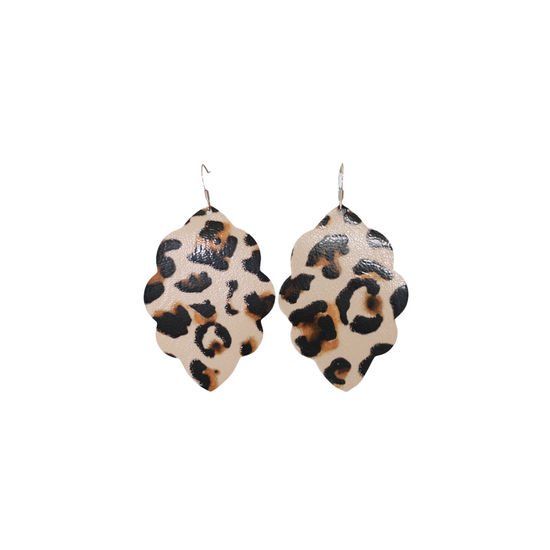 Beige Leopard Large Solid Leather Earring