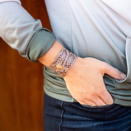 Stone Reptile Leather Cuff