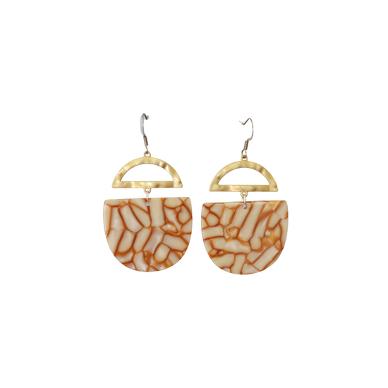 White & Caramel Crescent Acrylic Earring