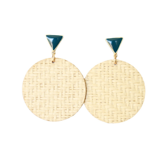 Midnight Blue Rattan Halo Earring