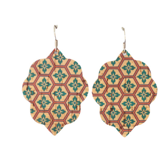 Teal Mosaic Cork Small Leather Earring