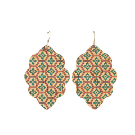 Teal Mosaic Large Solid Leather Earring