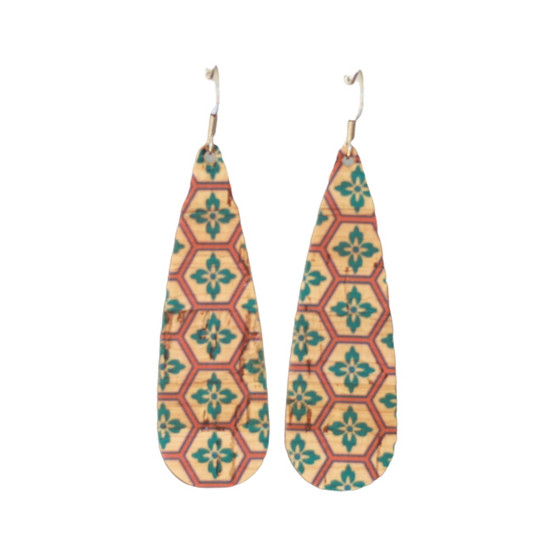 Teal Mosaic Cork Tear Drop Earring