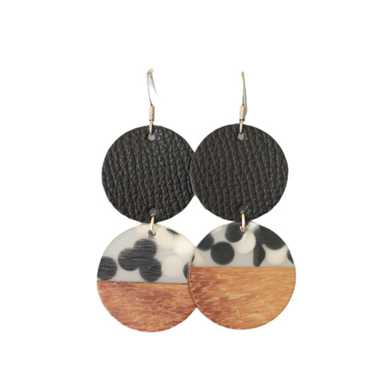 Black Dottie Leather Drop Earring