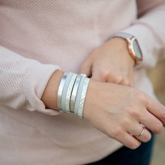 Silver Layered Leather Bracelet