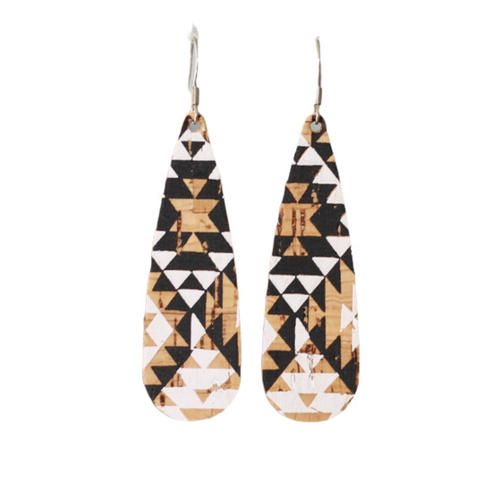 Aztec Cork Tear Drop Earring
