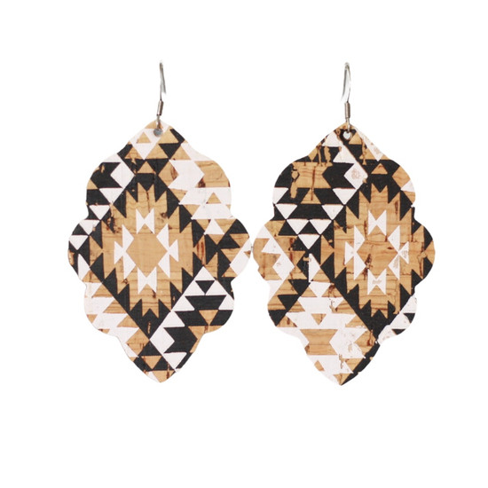 Aztec Cork Large Solid Leather Earring