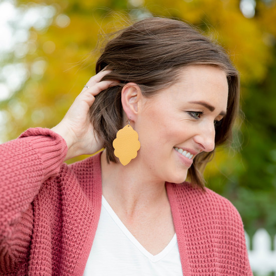 Mustard Large Solid Leather Earring