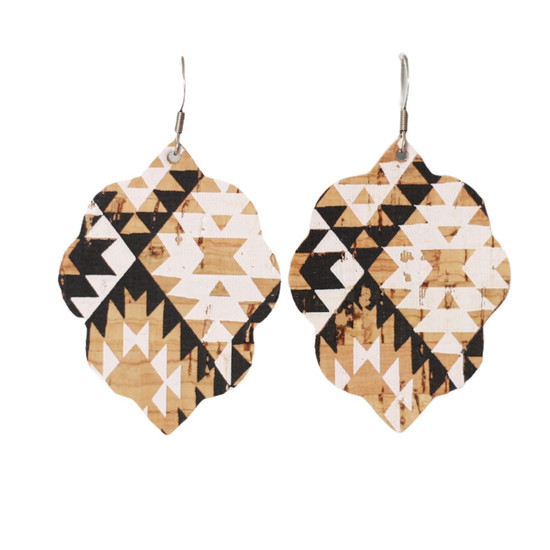 Aztec Cork Small Leather Earring