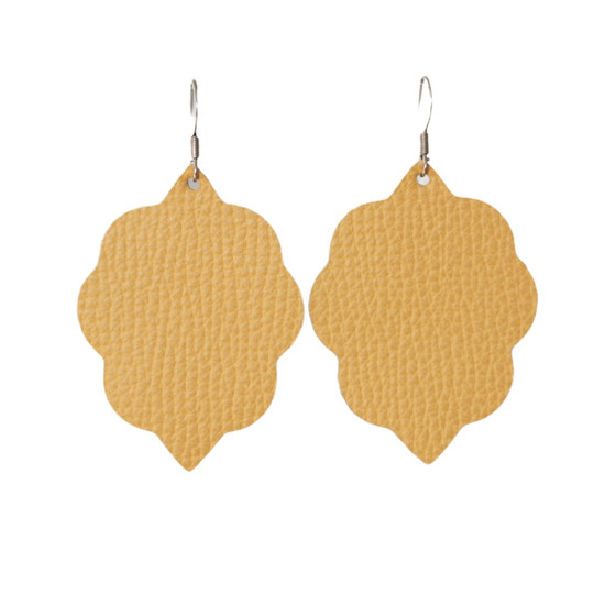 Mustard Small Leather Earring
