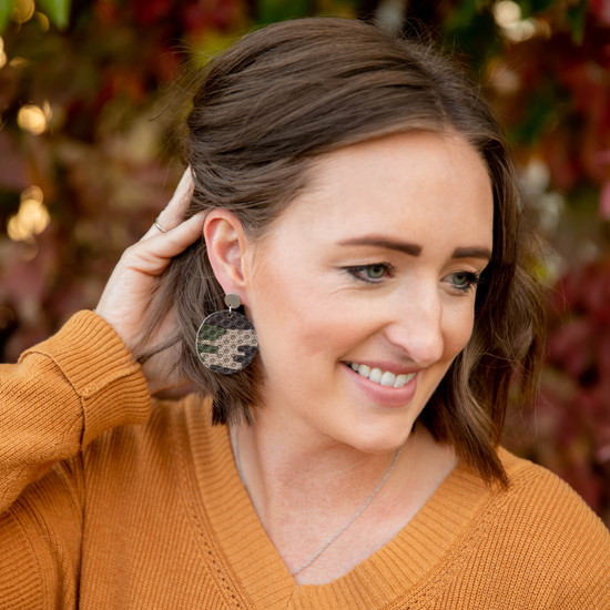 Camo Leather Halo Earring
