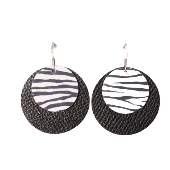 Zebra Leather Halo Earring