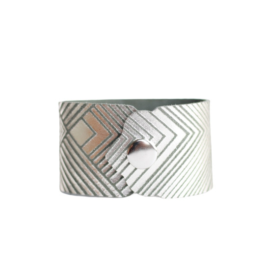 Sage Deco Leather Cuff