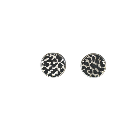 Black Glam Leather Stud Earring