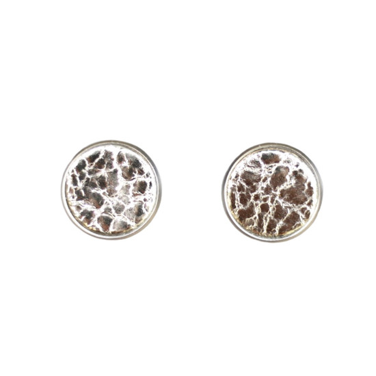 Platinum Leather Stud Earring