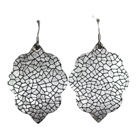 Black Mosaic Small Leather Earring