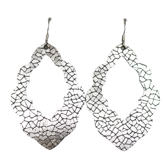 Black Mosaic Cut-Out Leather Earrings