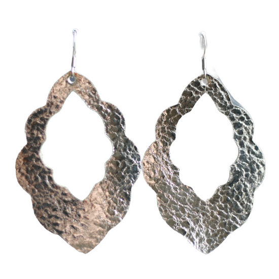Platinum Cut-Out Leather Earrings