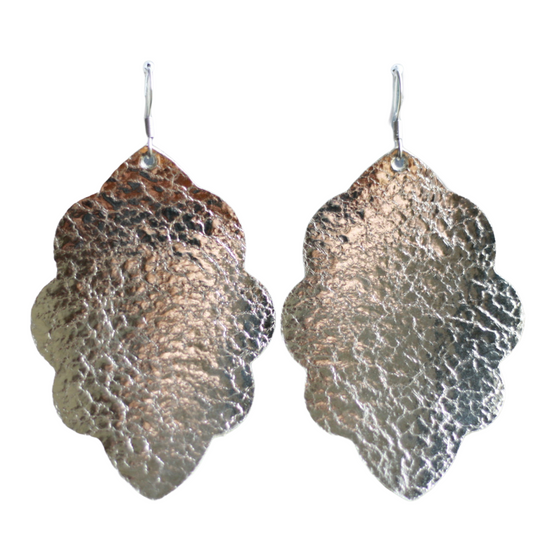 Platinum Large Solid Leather Earring