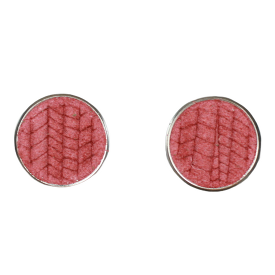 Antique Red Leather Stud Earring