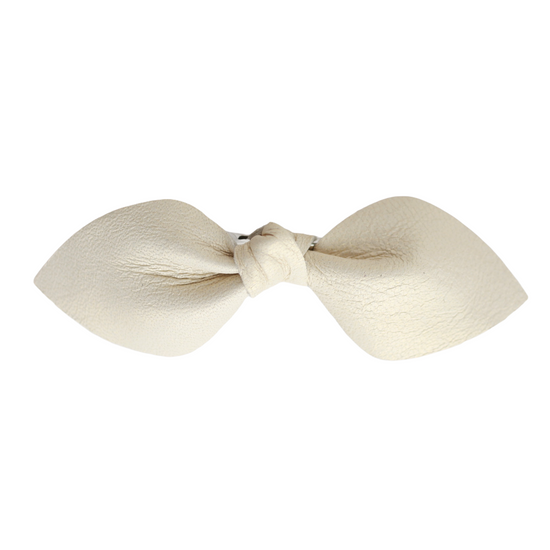 Cream Leather Bow Clip