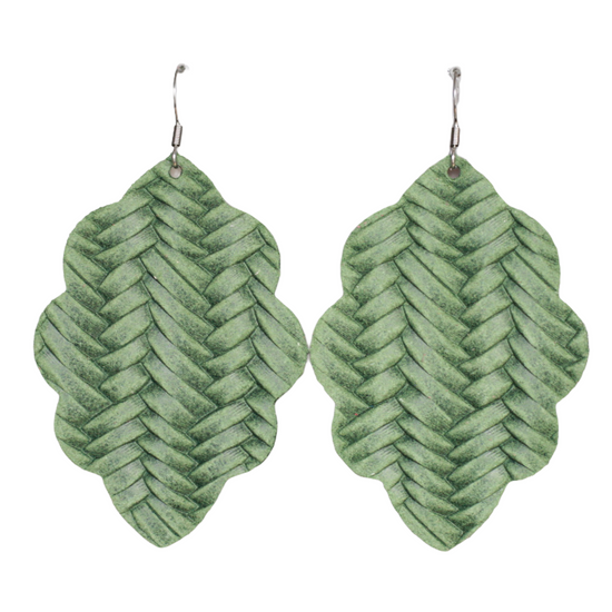 Fern Large Solid Leather Earring