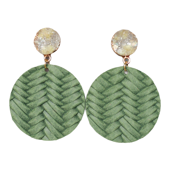 Fern Leather Halo Earring