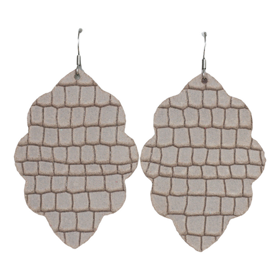 Almond Large Solid Leather Earring