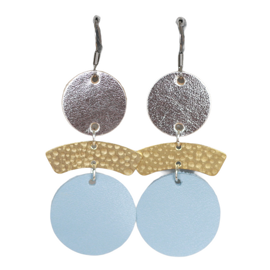 Powder Blue & Silver Drop Earring