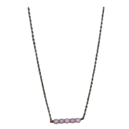 Blush Bead Silver Necklace