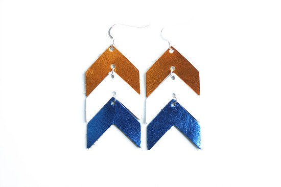Team Color Leather Earrings