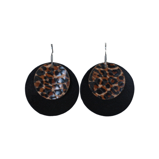 Leopard & Black Leather Halo Earring