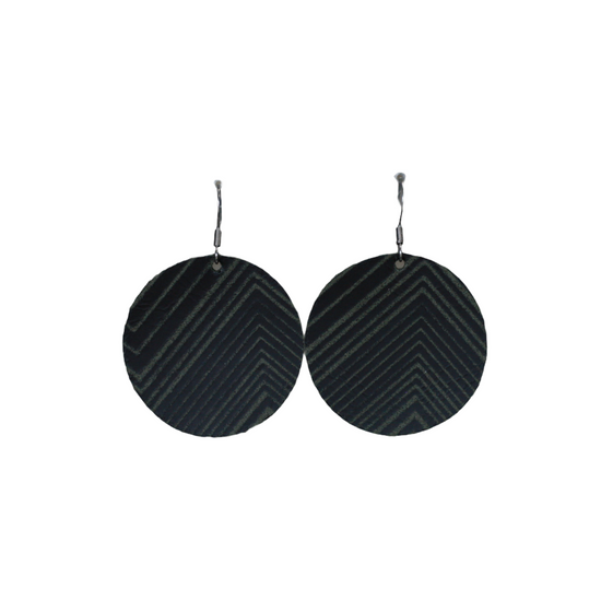 Black Deco Leather Halo Earring