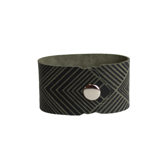 Black Deco Leather Cuff