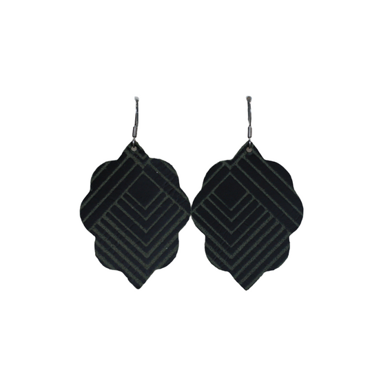 Black Deco Small Leather Earring