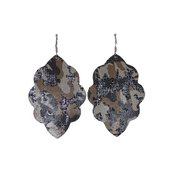 Desert Camo Large Solid Leather Earring