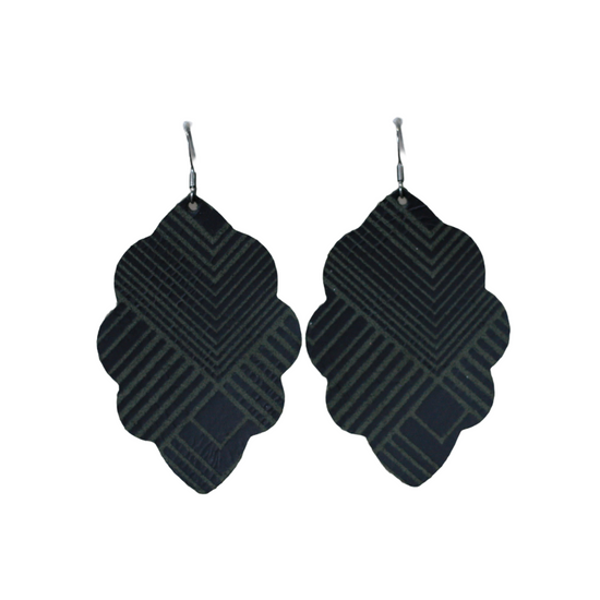 Black Deco Large Solid Leather Earring