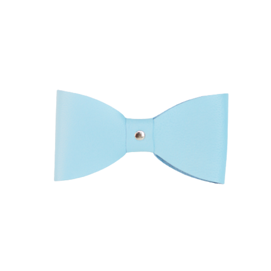 Light Blue Leather Bow Tie