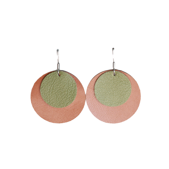 Olive & Tan Leather Halo Earring