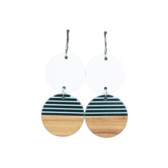 White Stripe Leather Drop Earring