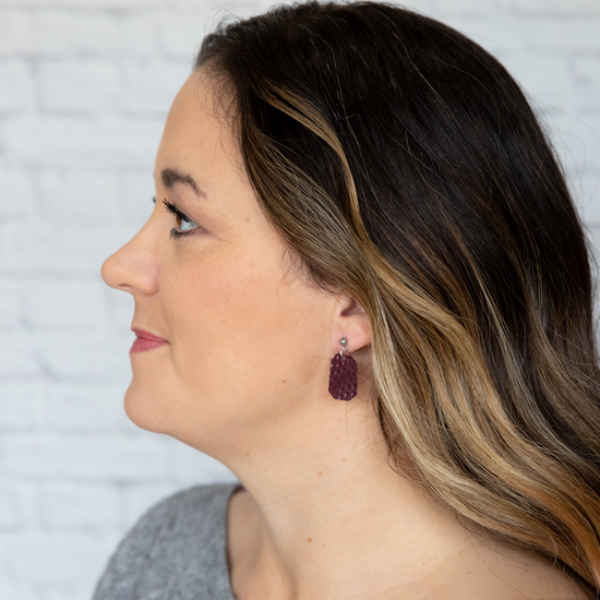 Imperial Purple Mini New York Leather Earring