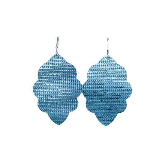 Marine Blue Large Solid Leather Earring