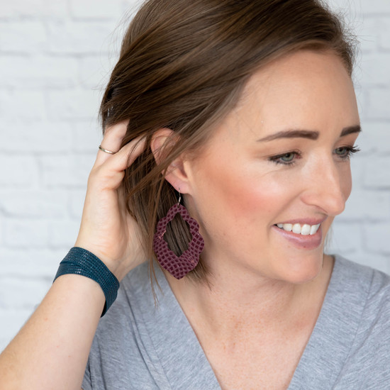 Imperial Purple Cut-Out Leather Earrings