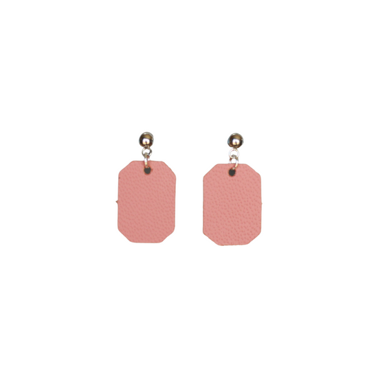 Dusty Coral Mini New York Leather Earring