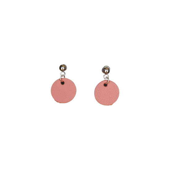 Dusty Coral Mini Halo Leather Earring
