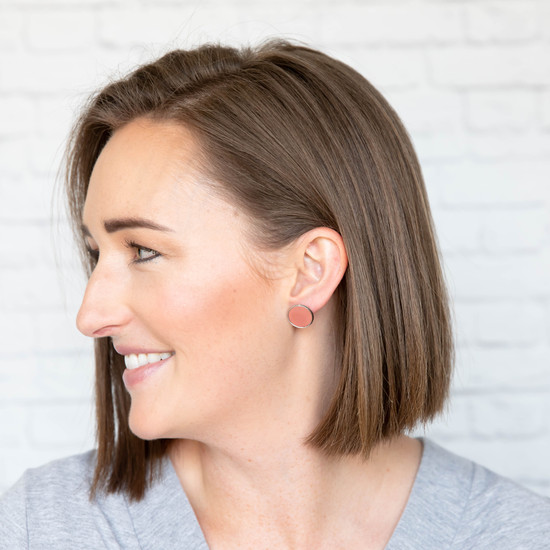 Dusty Coral Leather Stud Earring