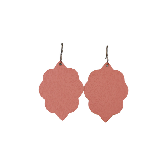 Dusty Coral Small Leather Earring