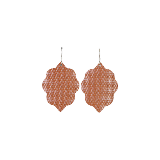 Weaved Tan Small Leather Earring