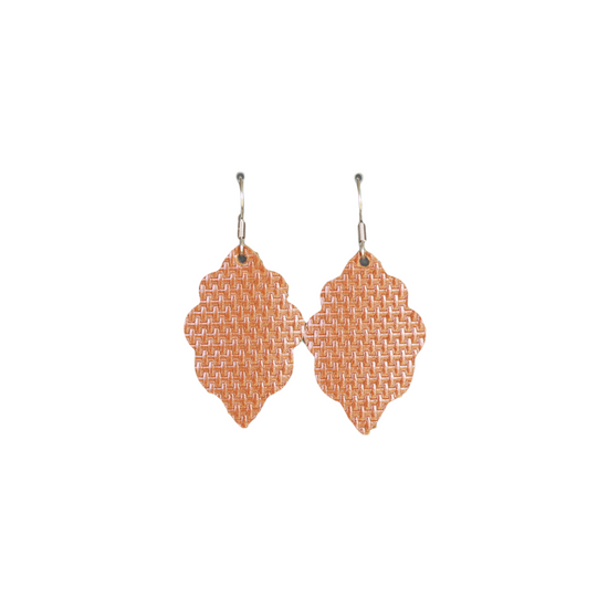 Weaved Tan Signature Mini Leather Earring
