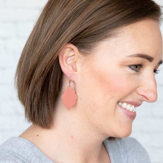 Dusty Coral Signature Mini Leather Earring